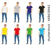 set of colored t shirts... | Shutterstock .eps vector #668618461