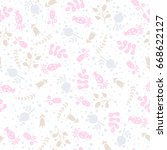 seamless pattern with flower... | Shutterstock .eps vector #668622127