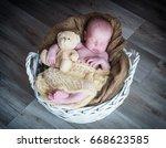 cute newborn baby girl | Shutterstock . vector #668623585
