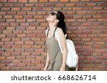 portrait of beautiful young... | Shutterstock . vector #668626714