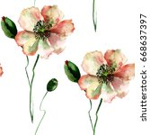 seamless pattern with poppy and ... | Shutterstock . vector #668637397