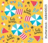 summer pattern. beach umbrellas ... | Shutterstock .eps vector #668640025