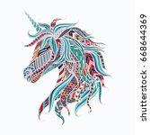 colorful tribal unicorn for... | Shutterstock .eps vector #668644369