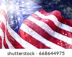 america flag with firework... | Shutterstock . vector #668644975