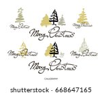 merry christmas greeting card... | Shutterstock .eps vector #668647165