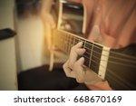 woman guitarist playing ... | Shutterstock . vector #668670169
