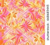 patterns foliage vivid graphic... | Shutterstock . vector #668685445
