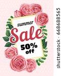 banner summer sale on pink dots ... | Shutterstock . vector #668688565