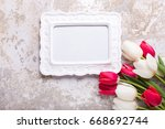 empty frame and  red and white... | Shutterstock . vector #668692744