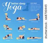 yoga poses for better sleep.... | Shutterstock .eps vector #668700445