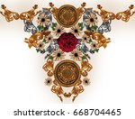 Stock photo flowers and golden baroque 668704465