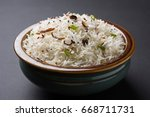 coconut rice  south indian food | Shutterstock . vector #668711731