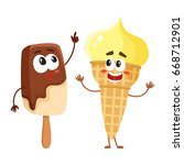 two funny ice cream characters  ... | Shutterstock .eps vector #668712901