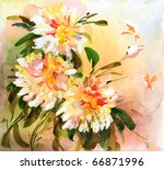 Painting Of Bright Flowers Wit...