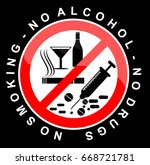 no smoking  alcohol and drugs | Shutterstock .eps vector #668721781