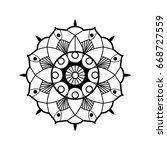 black on white flower hand... | Shutterstock .eps vector #668727559