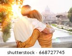 rear view of middle aged couple ... | Shutterstock . vector #668727745