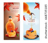maple syrup horizontal banners...   Shutterstock .eps vector #668735185