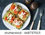 avocado toast. healthy toast...   Shutterstock . vector #668737015