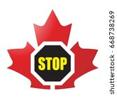 red color maple leaf with stop... | Shutterstock .eps vector #668738269