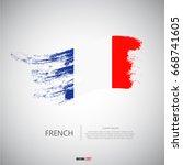 french flag with  brush stroke... | Shutterstock .eps vector #668741605
