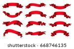 ribbon banner set.vector red... | Shutterstock .eps vector #668746135