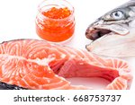 salmon steak on white... | Shutterstock . vector #668753737