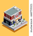 isometric cinema building with... | Shutterstock .eps vector #668755321