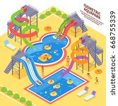 aqua park and swimming with... | Shutterstock .eps vector #668755339