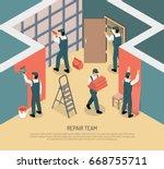 renovation repair team working... | Shutterstock .eps vector #668755711