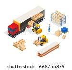 warehouse truck isometric... | Shutterstock .eps vector #668755879