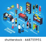 fashion studio isometric... | Shutterstock .eps vector #668755951