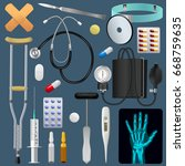 medical equipment tools and... | Shutterstock .eps vector #668759635