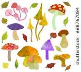 mushrooms set. textured... | Shutterstock .eps vector #668767084
