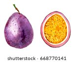 passion fruit slice watercolor... | Shutterstock . vector #668770141