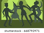 people silhouettes dancing... | Shutterstock .eps vector #668792971