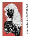 beautiful tattooed lady  ... | Shutterstock .eps vector #668793367