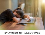business woman sleep work hard | Shutterstock . vector #668794981
