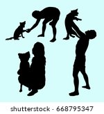 Stock vector dog care man and woman activity silhouette good use for symbol sign icon mascot or any design 668795347