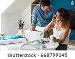 woman buying online stocks... | Shutterstock . vector #668799145