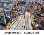 aerial view of train tracks... | Shutterstock . vector #668806405