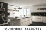 modern white kitchen with... | Shutterstock . vector #668807551