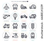 vector icon set of vehichles... | Shutterstock .eps vector #668814109