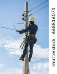 electrician working on electric ... | Shutterstock . vector #668816071