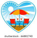 vector deck chairs and drinks... | Shutterstock .eps vector #66881740