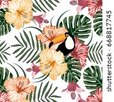 tropical seamless pattern with... | Shutterstock .eps vector #668817745