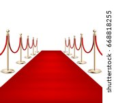realistic red carpet between... | Shutterstock .eps vector #668818255