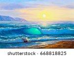 morning on sea  wave ... | Shutterstock . vector #668818825