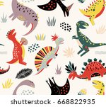 seamless pattern with different ... | Shutterstock .eps vector #668822935
