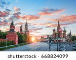 spassky tower and st. basil's...   Shutterstock . vector #668824099